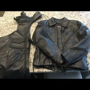 Leather Harley riding jacket and chaps